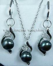 Natural Black Akoya Cultured pearl Earrings Pendant Necklace Set AAA Grade