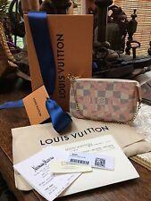 NIB LOUIS VUITTON TAHITIENNE DAMIER AZUR MINI POUCHETTE, Rose Pink + RECEIPT