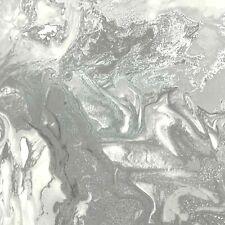 Marble Swirl Effect Glitter Metallic Shimmer Wallpaper Silver Grey Textured