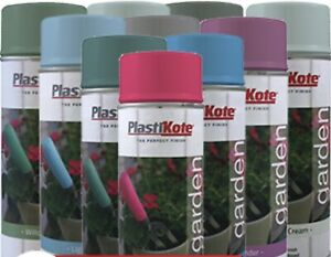 PlastiKote Garden Spray paint 10 Colours Water Based 90% less Solvents