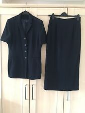 Skirt Suit From Richards Size 12 Navy Blue Single Button & Lined. Quality & VGC.
