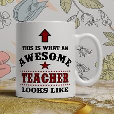 Awesome Teacher thank you gift mug end of term best birthday present cup