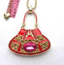 Betsey Johnson Red crystal/enamel Beautiful bag Pendant necklace#288LR