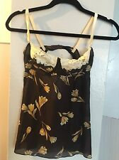 DOLCE & GABBANA LINGERIE BROWN & CREAM FLORAL BUSTIER TOP SIZE SMALL