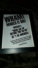 Wham! Wake Me Up Rare Original Radio Promo Poster Ad Framed! George Michael