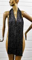 New Eileen Fisher Charcoal Skinny Scarf Merino Wool Sequins
