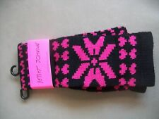 BETSEY JOHNSON SOCKS NWT OVER THE KNEE BLACK PINK SIZE 9-11 KNIT SNOWFLAKE