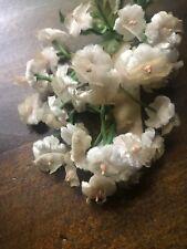 "Vintage Millinery Flower 5/8"" Velvet Forget Me Not Spray Ecru Beige German UG"