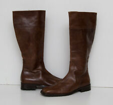 WOMENS TRUMAN'S LONG BOOTS LOW HEEL 100 % GENUINE LEATHER BROWN EUR 37 UK 4 VGC