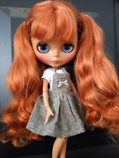 """12"""" Neo Blythe Doll from Factory Black Skin Jointed Body Auburn Hair With Bang"""
