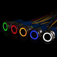 12mm Metal Annular Push Button Black Switch Ring LED Light Momentary Latc~OT
