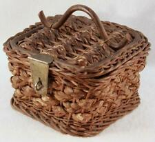 Antique 19th Century Primitive Hand Woven Wicker Small Sewing Basket