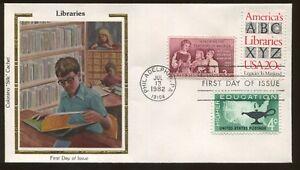 1982 Philadelphia Pennsylvania Bibliothèques Colorano Soie Cachet Premier Jour