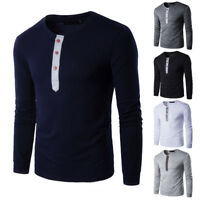 Men's Winter Slim Fit Casual Splicing Button Long Sleeve Muscle Tee Shirt Blouse