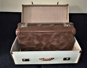 Vintage Old leather Suitcase Art Deco Brass clasps CHENEY + one suitcase bonus.