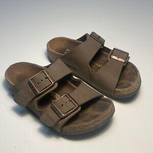 Birkenstock Kids Arizona Double Buckle Sandals  Brown Leather C9