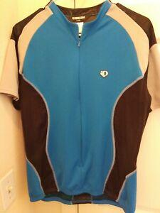 Pearl Izumi technical wear Men's cycling Jersey Size L Blue & black half Zipper