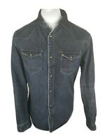 Mens All Saints Denim Pearlsnap Western Shirt Blue Medium Slim 40 To 42 Chest...