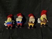 4 VTG Wood Christmas cone Elf worker santa helper Swedish Figure Nordic gift log