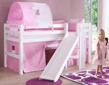 Hochbett ELIYAS Kinderbett mit Rutsche Spielbett Bett Weiß Stoffset Rosa/Weiß