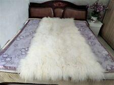 Beige REAL TIBETAN FUR MONGOLIAN LAMBSKIN SHEEPSKIN HIDE BED THROW BLANKET RUG