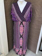 New $129 Chico's SS Mixed Print Maxi Dress Purple Black Pink Size 3 XL 16 18 NWT