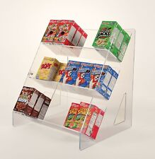 Box Rack for Breakfast Cereal - Cereal Box Display Stand - Angled Cereal Shelf