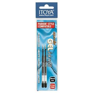 GPR7BP-BK Itoya Quick-Dry Gel Pen Refill, 0.7mm, Black, One Pack of 2 Refills