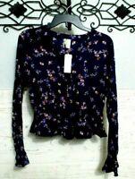 Women's Japna Top Size M Blue Floral Long Sleeve Blouse