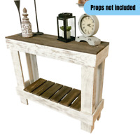 Rustic Farmhouse Sofa End Console Table Reclaimed Wood Distressed Brown/White