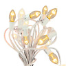 Outdoor Patio String Lights Clear Bulbs & White Hanging Cord