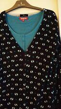 Gilet One Step,bleu à motifs,manches longues + haut Dorothée Bis offert.T.L+T.2
