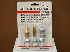 6pc Air Compressor Hose Repair Kit Tire Chuck Inflator Hose Clamp Barbed Fitting
