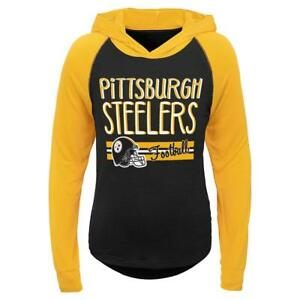 Pittsburgh Steelers NFL Youth Girls' Hooded T-Shirt, Size Medium (10/12) - NWT