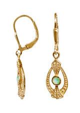 Jugendstil Ohrringe aus vergoldetem Sterlingsilber mit Smaragden