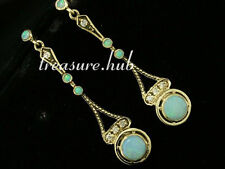 CE224- Lovely Genuine 9ct Solid Gold Natural Opal & Diamond Dangle Earrings