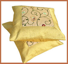 Set of two yellow beige silk embroidery flower design brocade pillow cover India