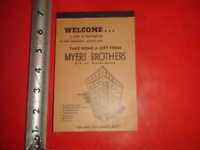 JE794 Vintage Memo Booklet Ad Myers Brothers Department Store