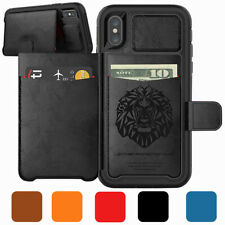 For iPhone XS Max/XS/XR/X Leather Credit Cards Wallet Magnetic Buckle Phone Case