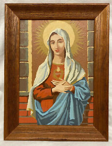 """Rare Vintage 2 Sided Mary Jesus 10""""x 14"""" PBN Paint By Number 1959 Palmer Pann"""
