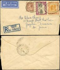 JAMAICA to BRITISH GUIANA 1935 REGISTERED AIRMAIL OVAL CANCELS