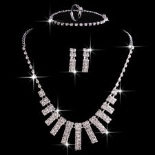 Fashion Women Crystal Jewelry Set Wedding Party Necklace Bracelet Earrings Ring