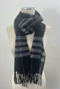BURBERRY Black White Purple Check Cashmere Scarf Made in England [md