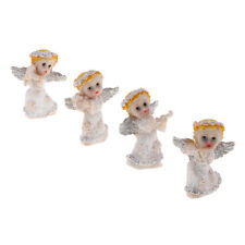 4pcs White Angel Figurines resin Miniatures Hand Painted Fairy Cherub Statue