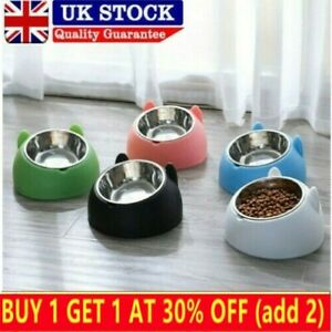 Cat Raised Bowl No-slip Stainless Steel Elevated Stand Tilted Feeder Bowl Fixed.