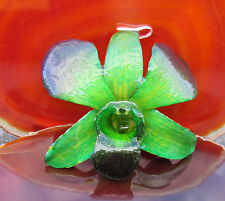 COLGANTE AUTÉNTICO orquídea flor verde púrpura en resina sintética ojal plata