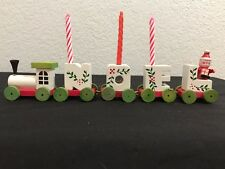 Vintage Wooden Noel Holiday Candle Train Set Christmas Decorative EC