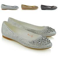 Womens Bridal Shoes Diamante Glitter Ladies Flats Ballerina Pumps Slip On Shoes