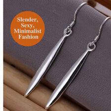 925 Sterling Silver Slender Needle Bullet Arrow Long Icicle Shaped Drop Earrings