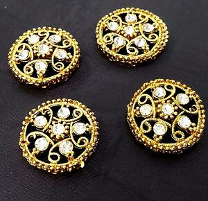 Vintage Rhinestone Gold Pot Metal Antique Buttons, Fashion Sewing Craft by 4 pc